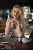 Sexy blonde businesswoman portrait