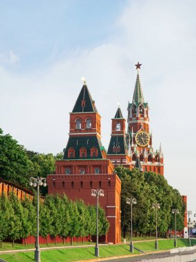 Spasskaya Tower in Moscow on red square summer day
