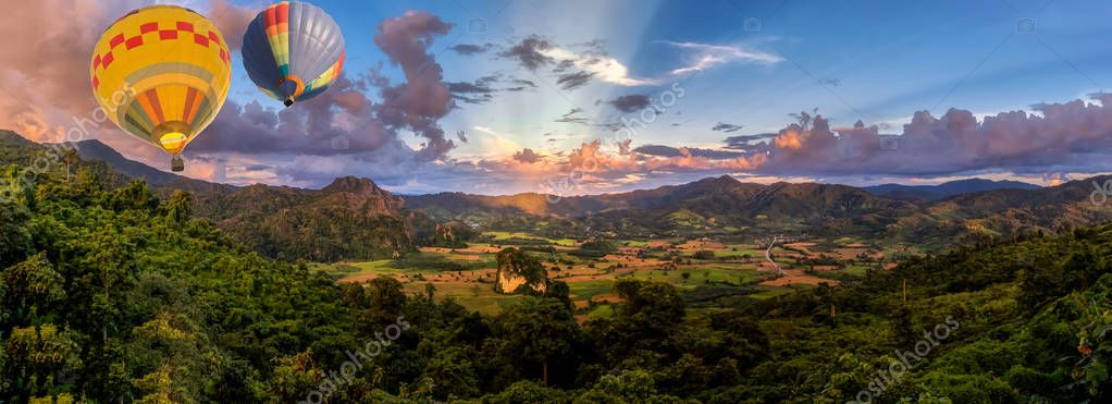 panoramic view of sunset in the valley of mountain in North of T