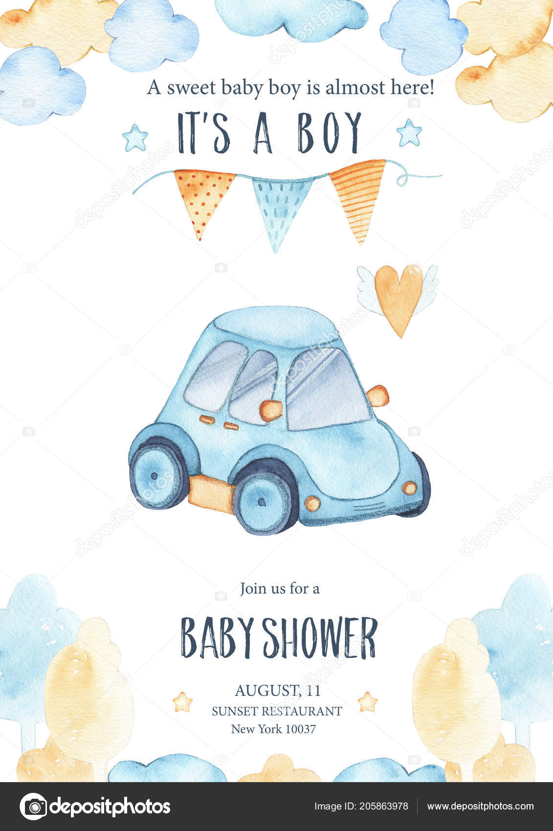 Watercolor Its Baby Boy Shower Cute Blue Car Auto Garland Stock