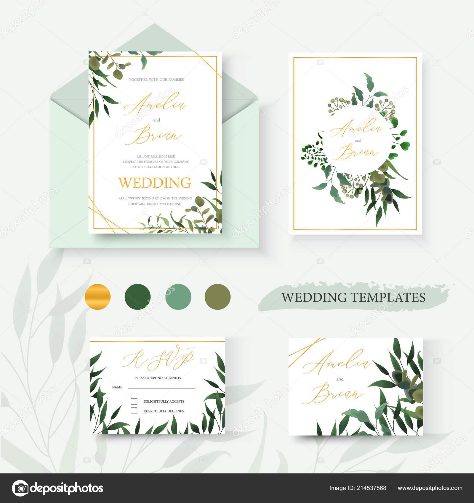wedding floral gold invitation card envelope date rsvp design green