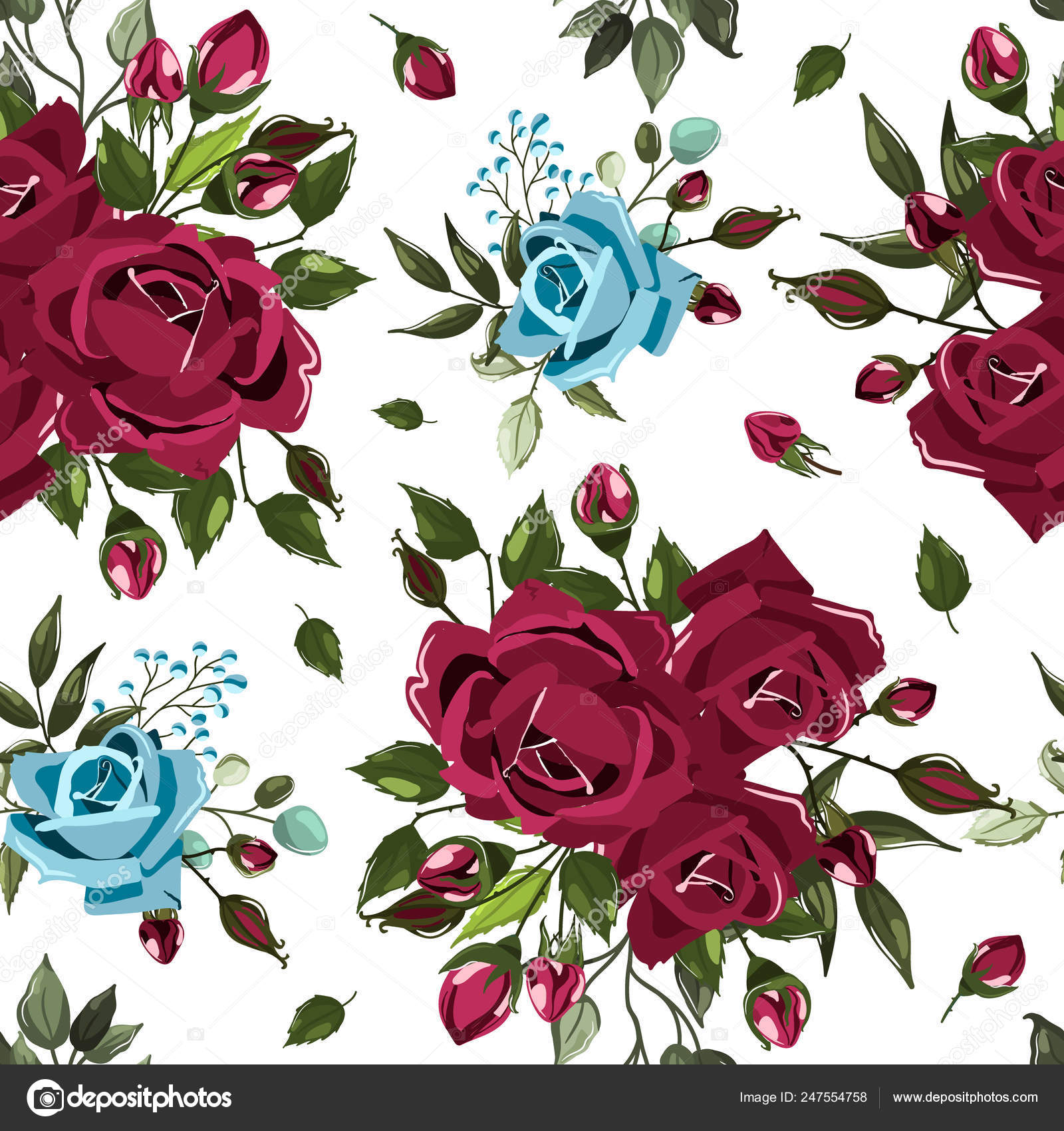 Seamless Floral Pattern With Bordo Burgundy Navy Blue Rose Flowers