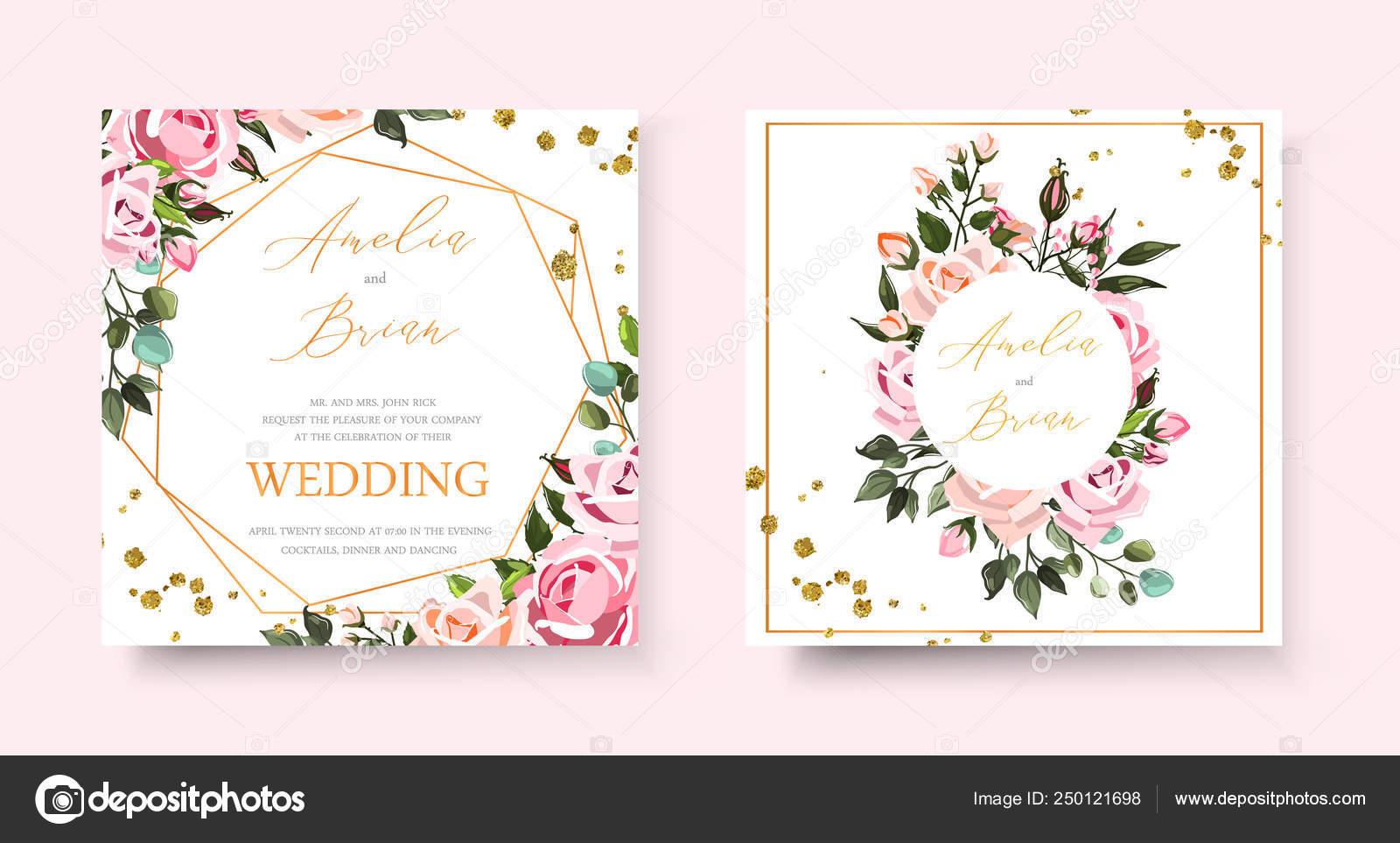 Boda Floral Invitación Oro Tarjeta Excepto El Diseño De La