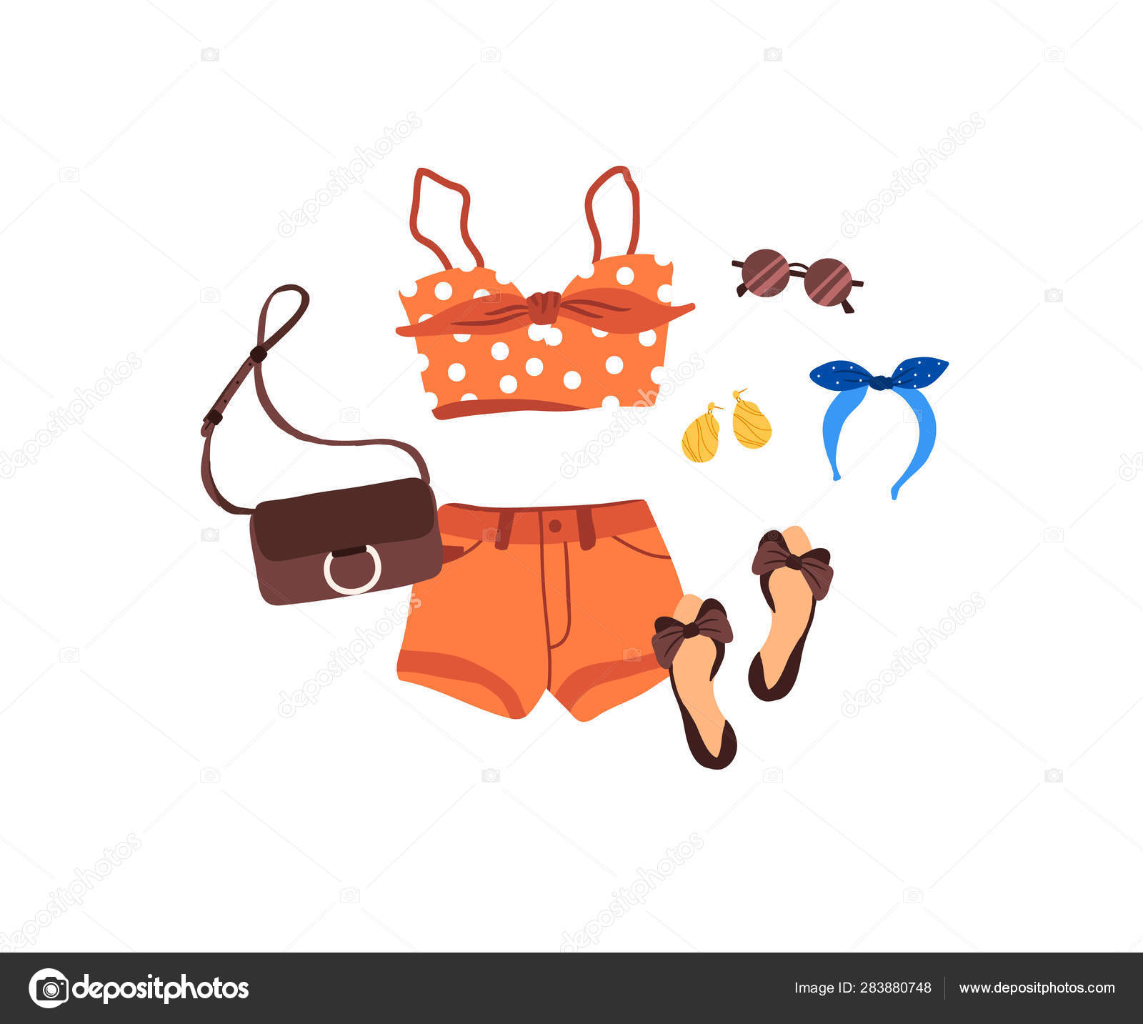 Set of outfit creator with summer fashion womens clothing