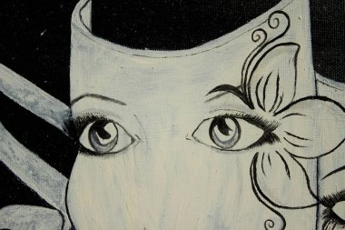 """Картина, постер, плакат, фотообои """"живопись маской. грустные и веселые маски. фон. текстура. поп"""", артикул 410048634"""