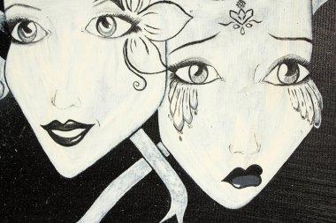 """Картина, постер, плакат, фотообои """"живопись маской. грустные и веселые маски. фон. текстура."""", артикул 410048696"""