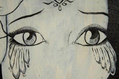 """Картина, постер, плакат, фотообои """"живопись маской. грустные и веселые маски. фон. текстура. портрет портреты фото"""", артикул 410048768"""