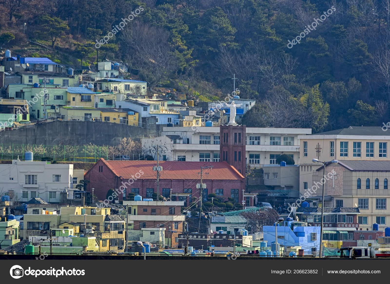fd67f129f11 Busan Coreia Sul Fevereiro 2017 Igreja Com Telhado Cristo Redentor ...