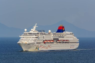 GEORGETOWN, PENANG, MALAYSIA - Oct 20, 2017: Cruise passenger ship 'Superstar Gemini' by Star Cruises is underway in Malacca Strait near George Town.