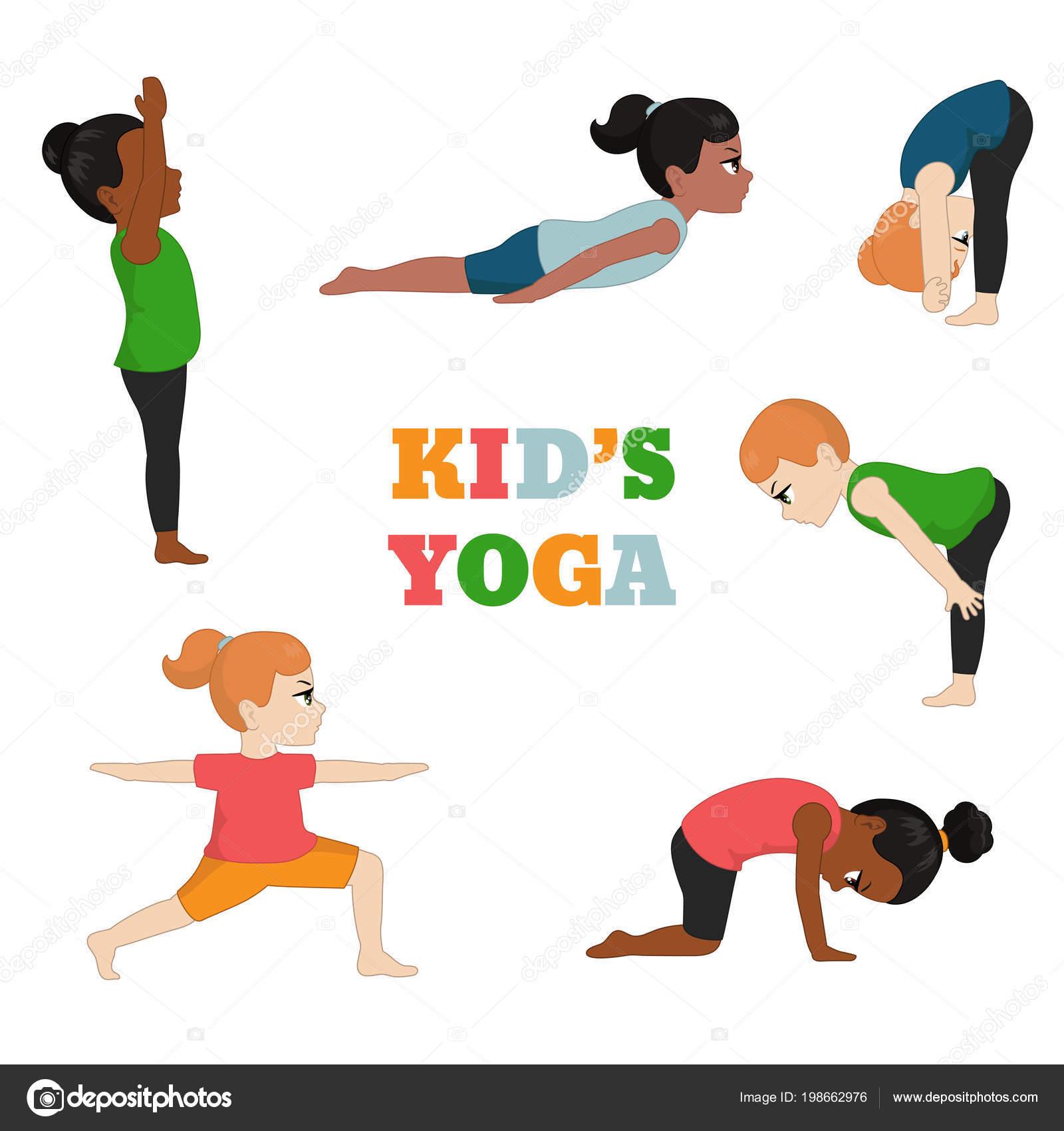 Images Healthy Lifestyle Cartoon Kids Yoga Set Healthy Lifestyle Cartoon Style Illustration Isolated White Stock Vector C Ninamunha 198662976