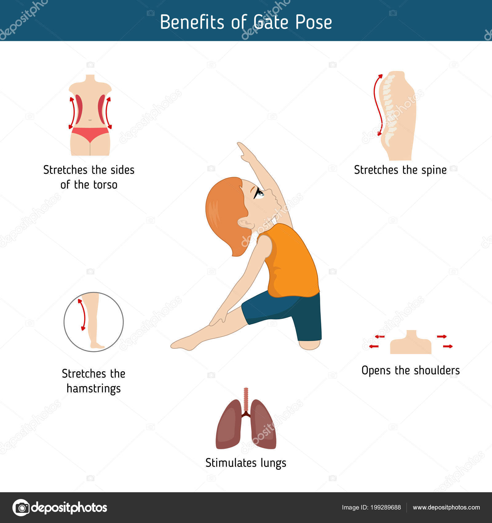 Infographie Posture Yoga Avantages Porte Pose Yoga Illustration