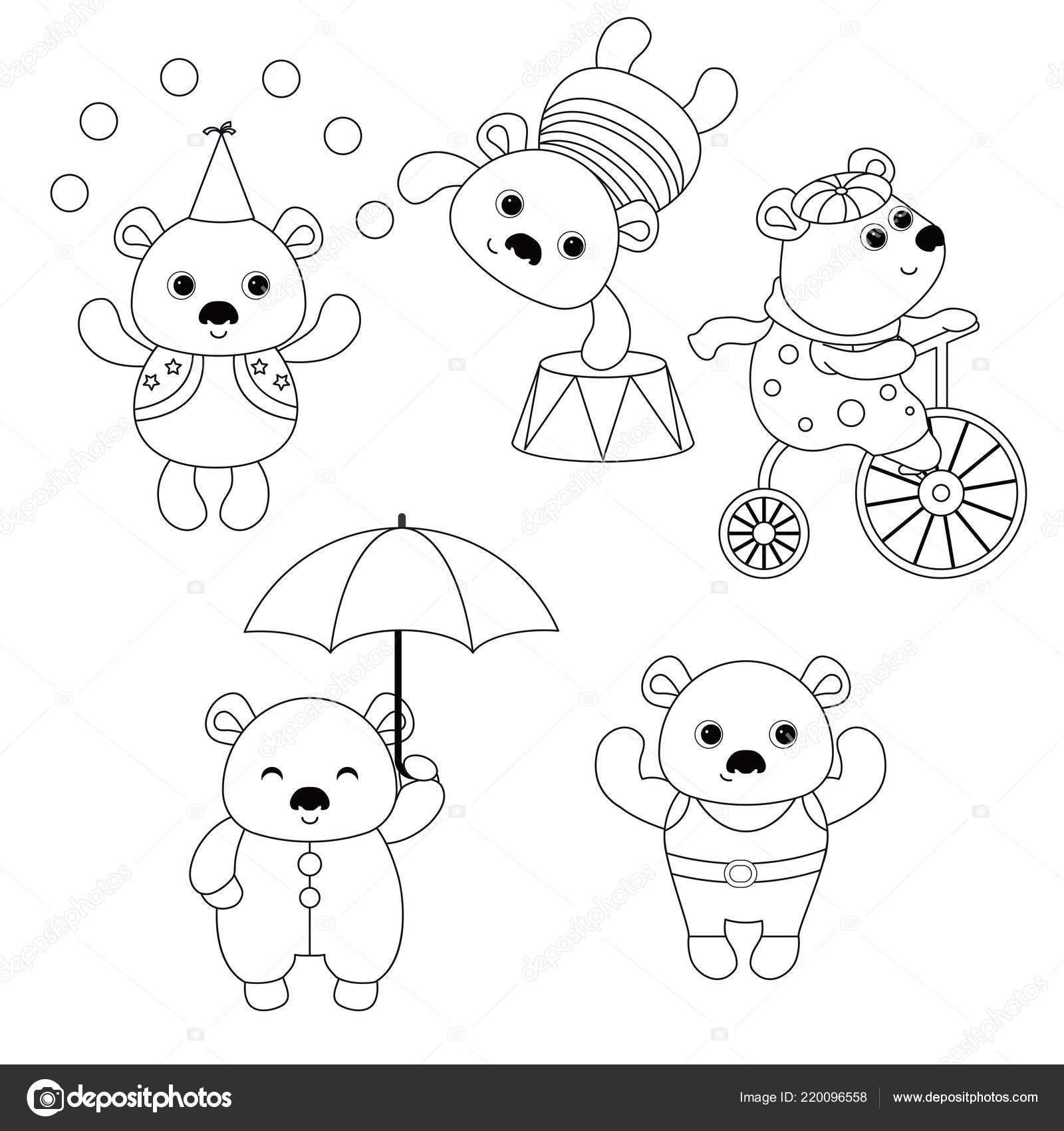 цирк тема книжка раскраска набор цирковые медведи различными