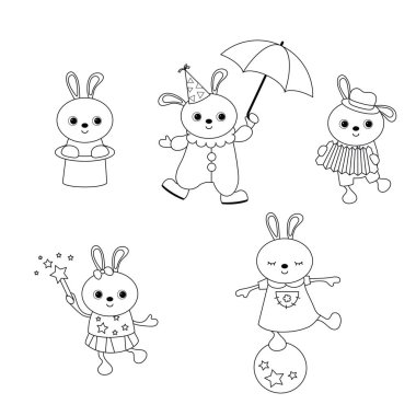 Circus theme. Coloring book. Set of circus rabbit with different actions.