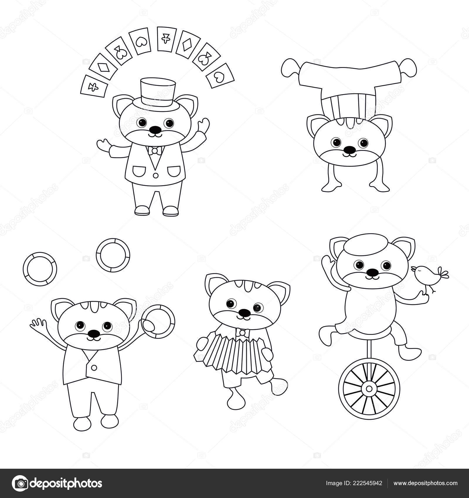 цирк тема книжка раскраска набор цирк кошек различными