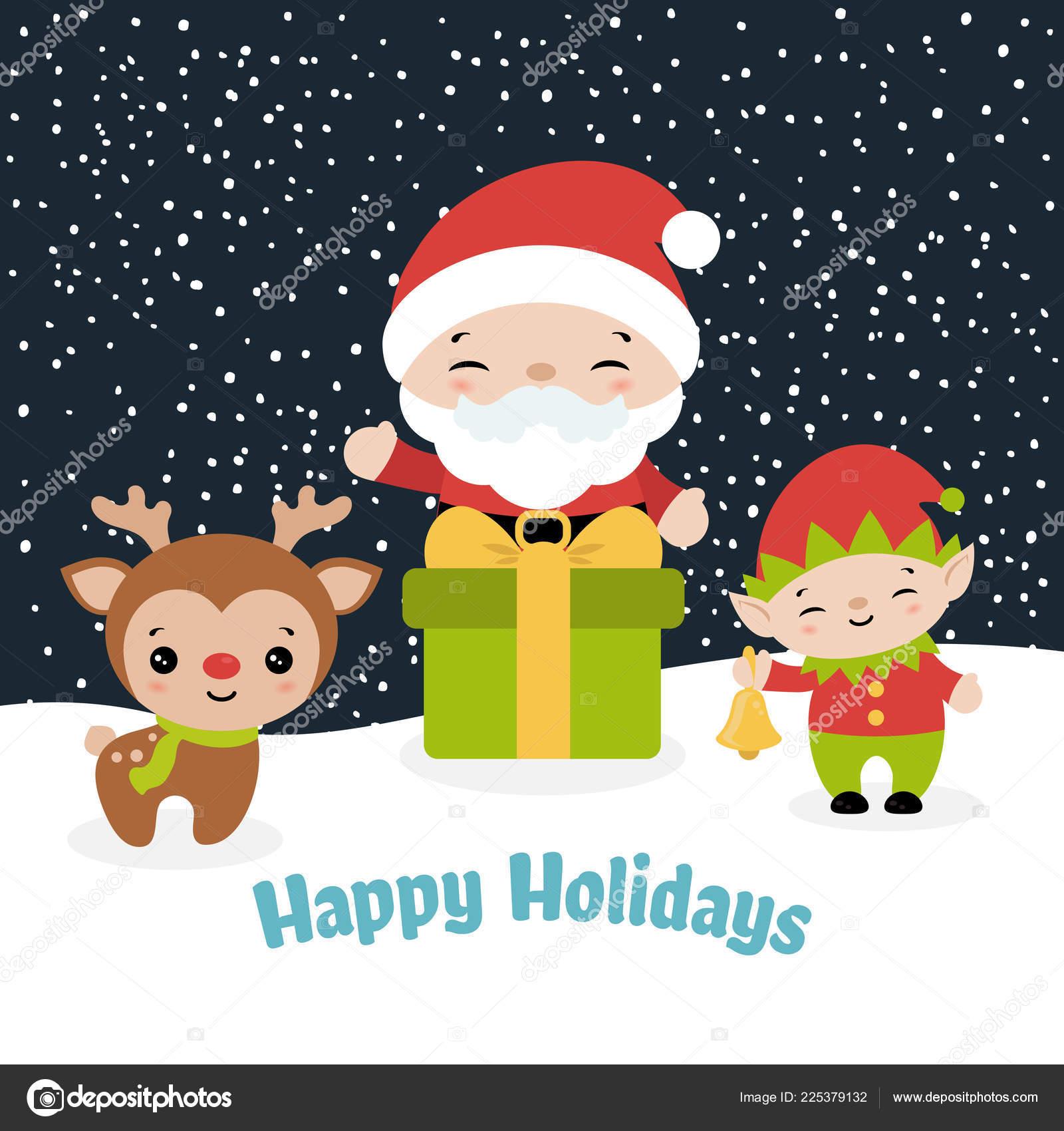 Merry Christmas Card Santa Claus Raindeer Elf Vector Illustration U2014 Stock  Vector