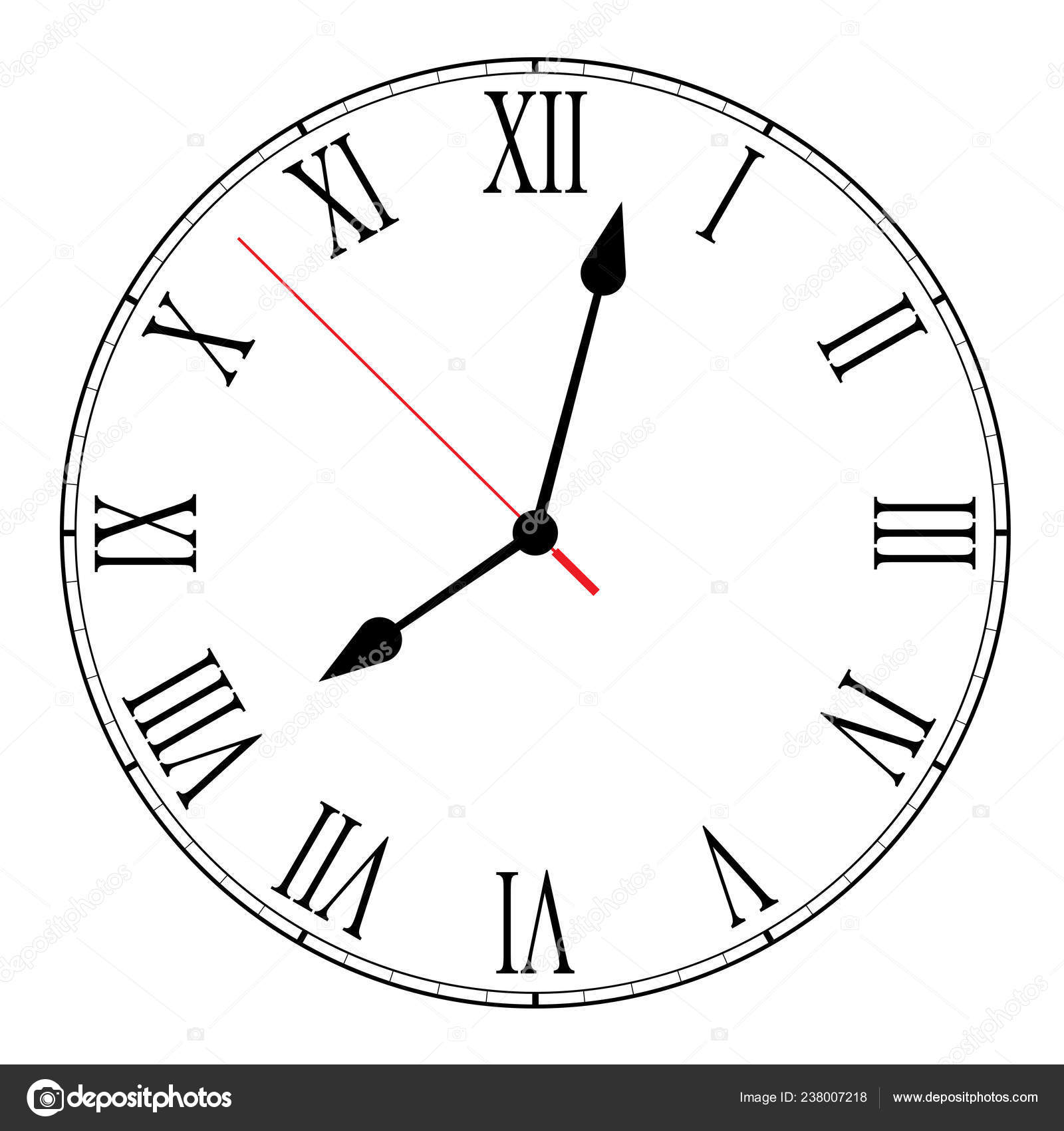 photo regarding Printable Clock Face With Hands called Printable clock encounter roman numerals Vector Example