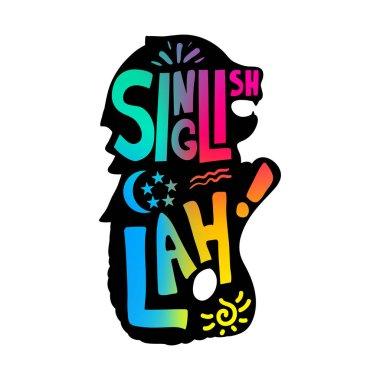 Singlish Lah inscribed in singaporean merlion sillhoette. Vector