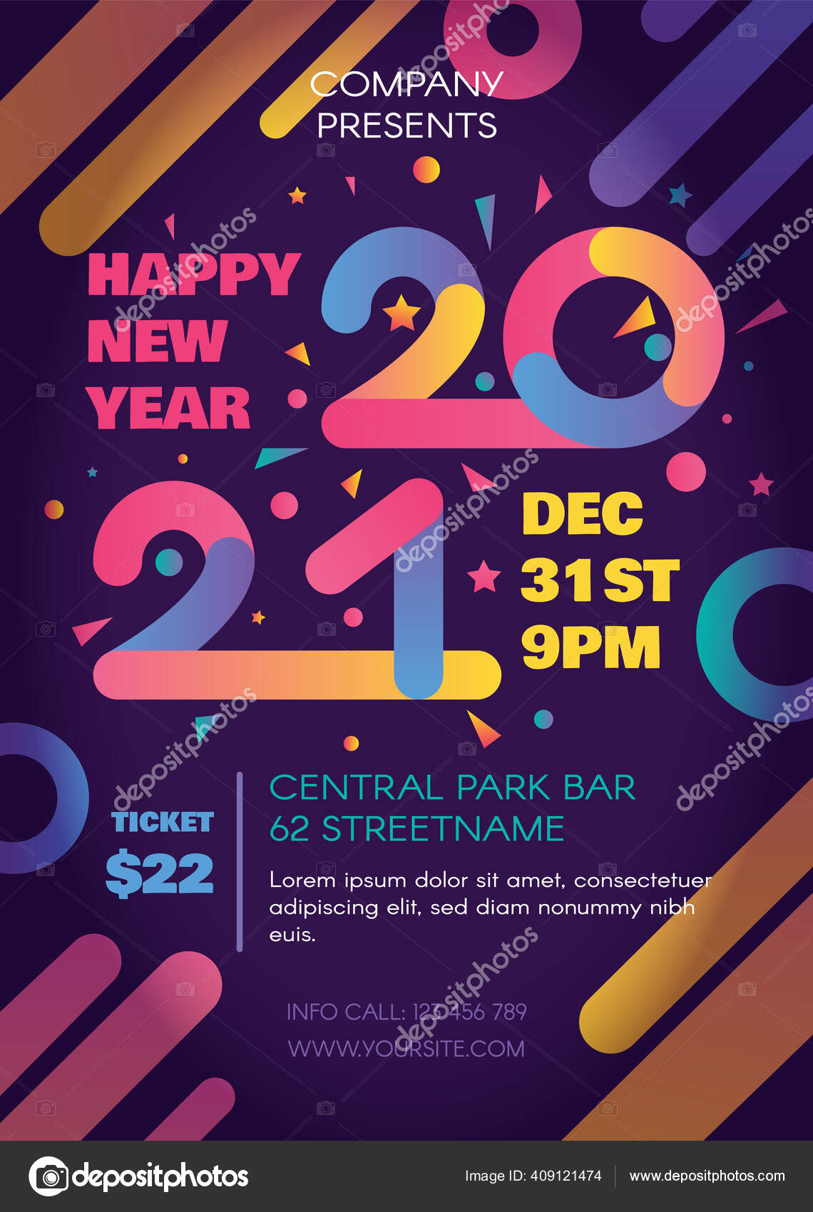2021 New Year Party Celebration Poster Flyer Design Template Invitation Stock Vector C Barsrsind 409121474