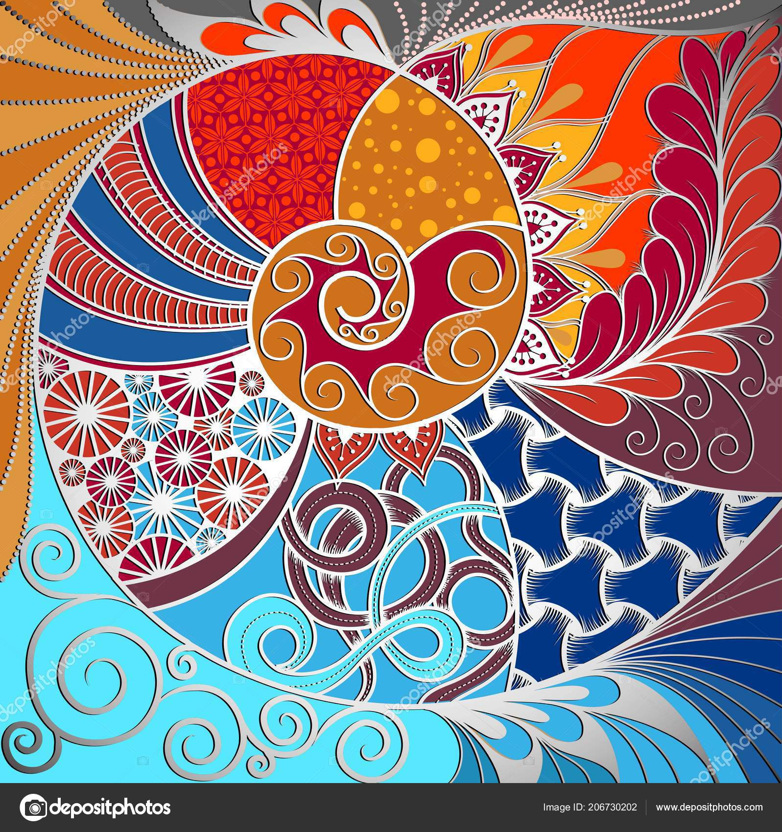 Hand Drawn Ethno Zentangle Pattern Tribal Background Can Used Wallpaper — Stock Vector
