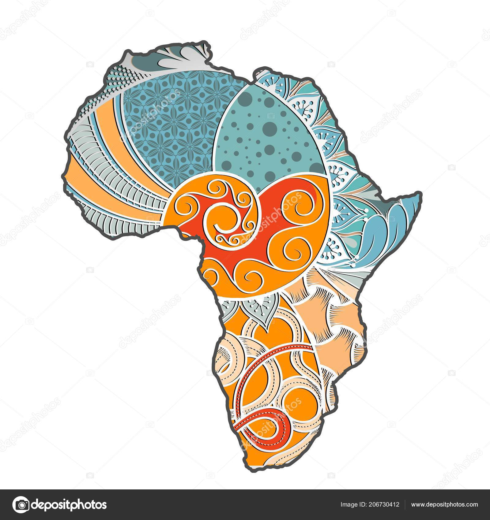 Map Of Africa Art.Textured Vector Map Africa Hand Drawn Ethno Pattern Tribal