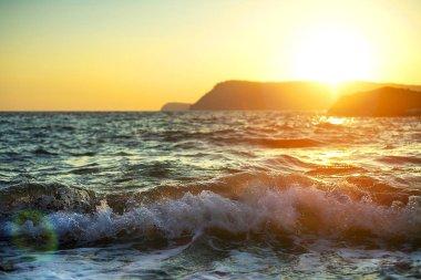 Sea landscape at sunset. Beautiful sunset sea