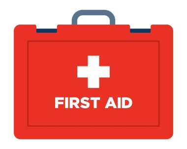 First aid in a suitcase. Medicines in a red suitcase vector flat icon isolated on white icon