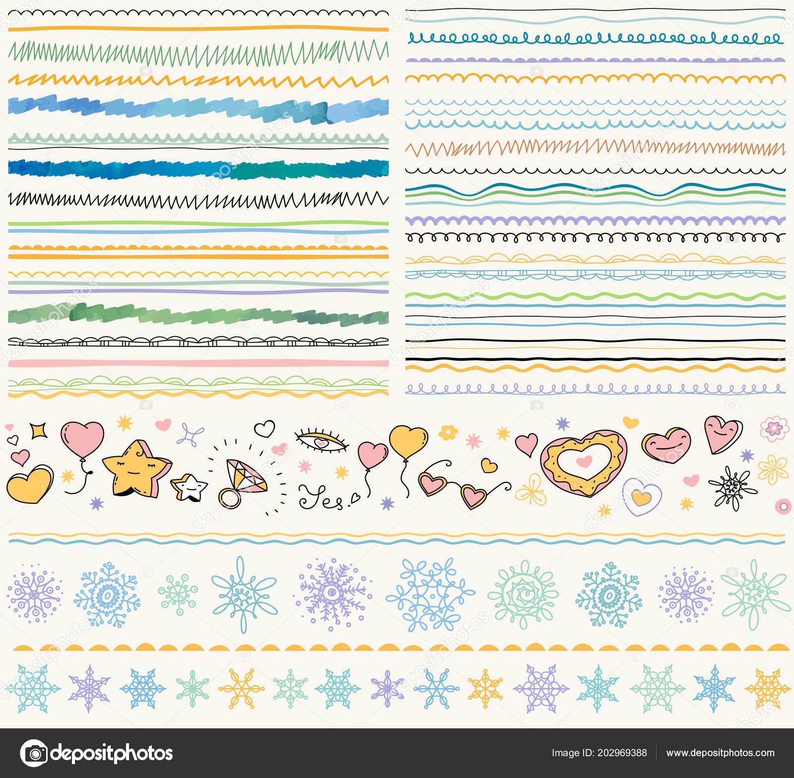 Set Decoración Navidad Moderna Doodle Dibujado Mano Patrones Adornos ...