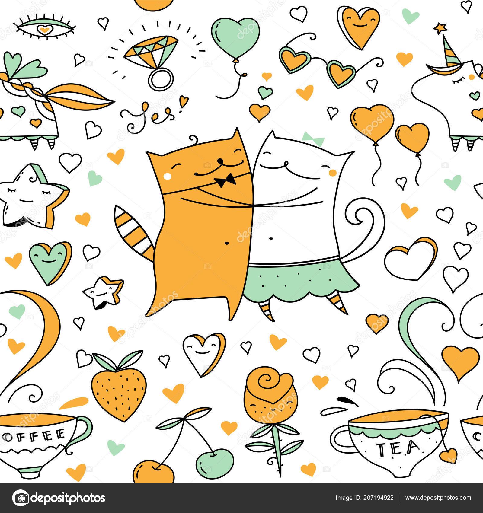 Ilustração Casal Gatos Vetor Desenho Animado Gatinho Animais ...