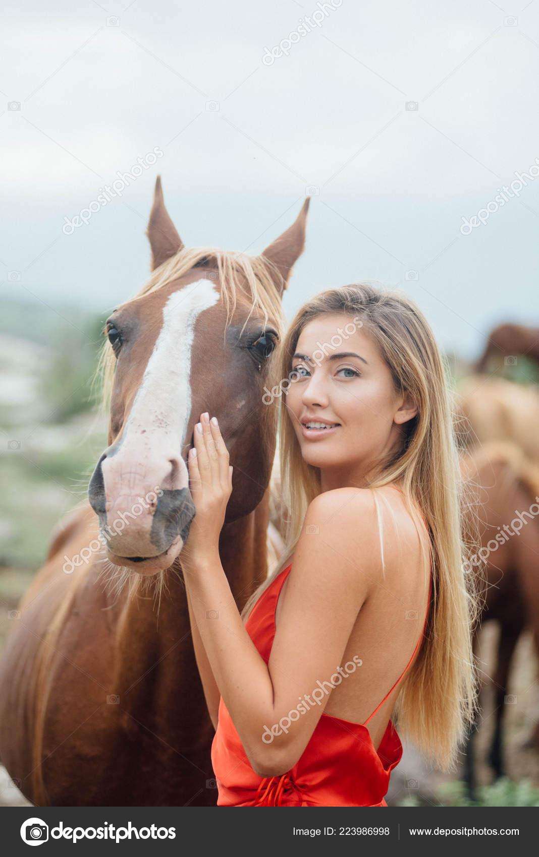 Cheerful Female Touching Horse Face Beautiful Mare Chocolate Color White Stock Photo C Diana Mironenko 223986998