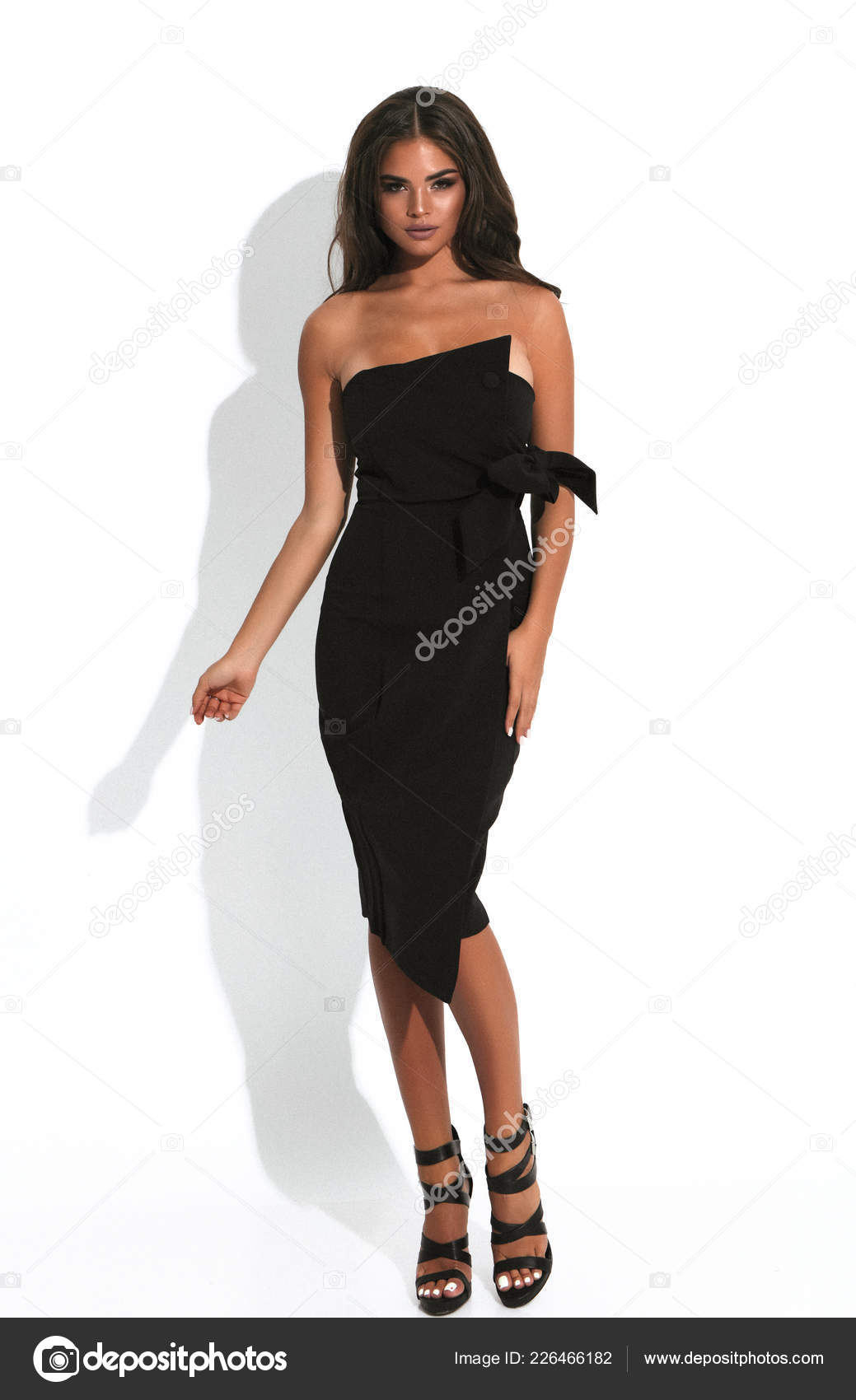 Passion Girl Black Cocktail Dress Natural Makeup Perfect Hairstyle