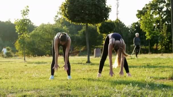 Dvě sportovní holky ve slunném parku. Fitness, aerobik a roztažení, zdravý a sportovní životní styl