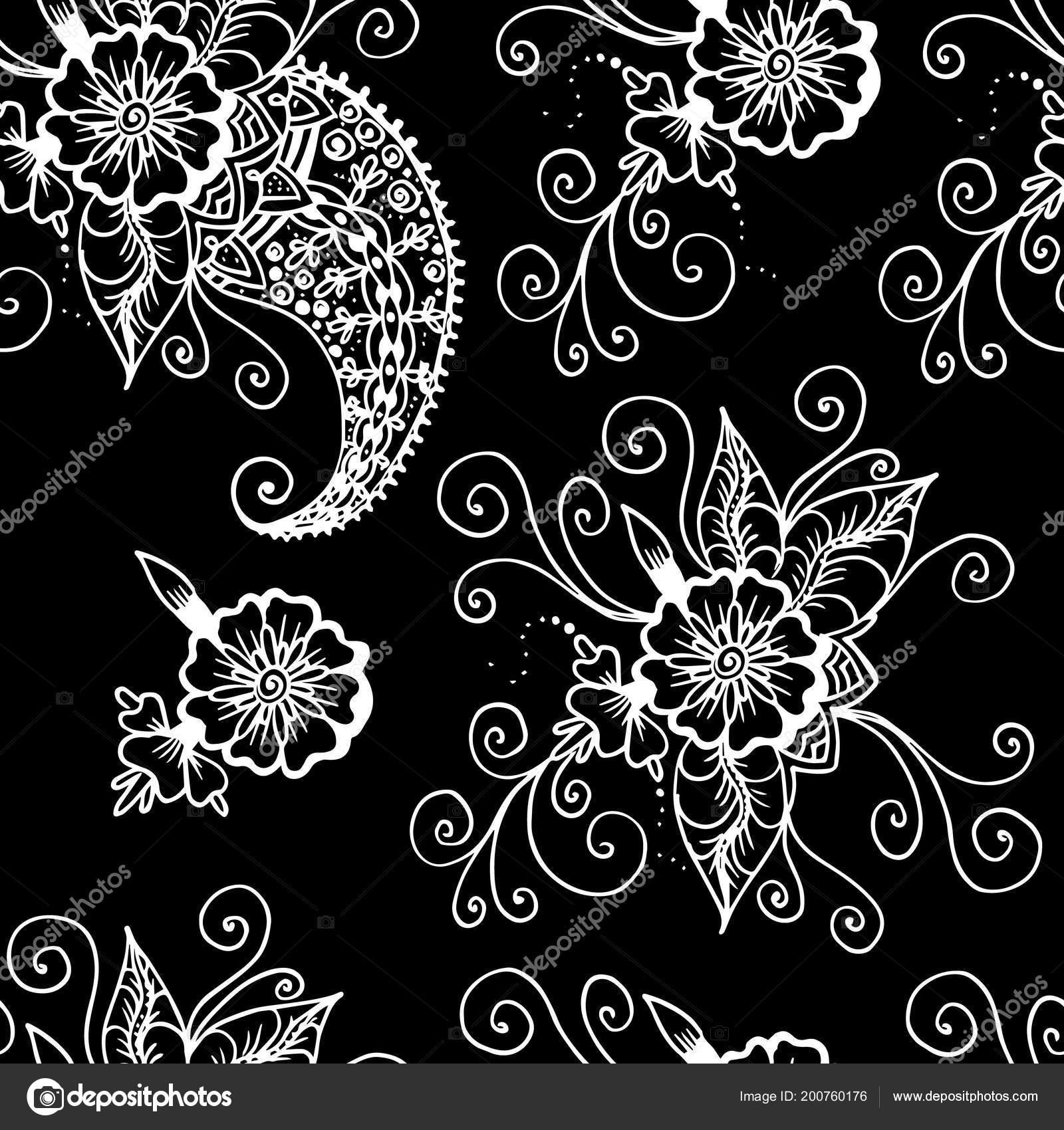 Paisley Fiori Astratto Disegno Lineare Modello Senza Cuciture Bianco
