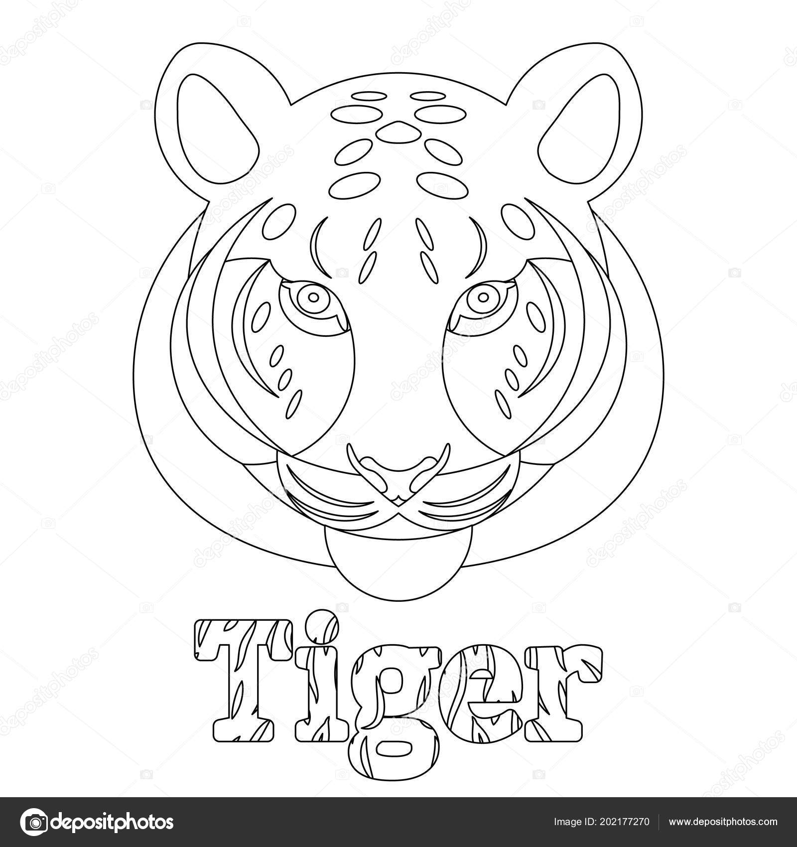 Tiger Coloring Page Kids Wild Mammal Animal Linear Style ...