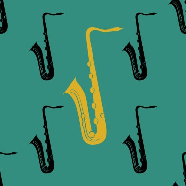 Jazz concept. Saxophone. Seamless pattern. Black and yellow elements. Green background