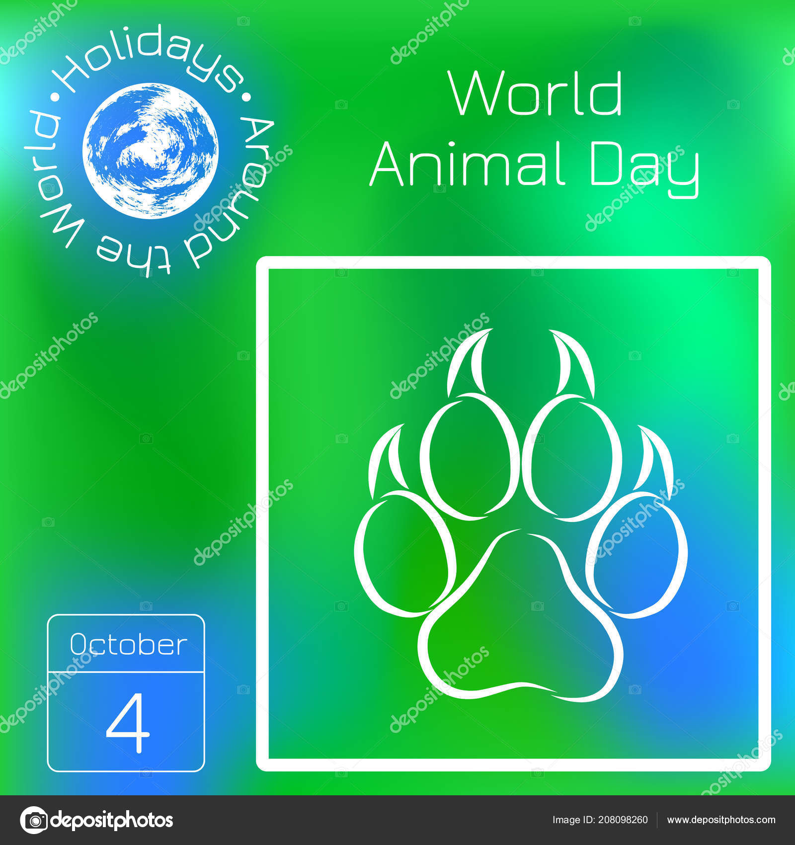 World Animal Day October Concept Ecological Holiday Animal Track