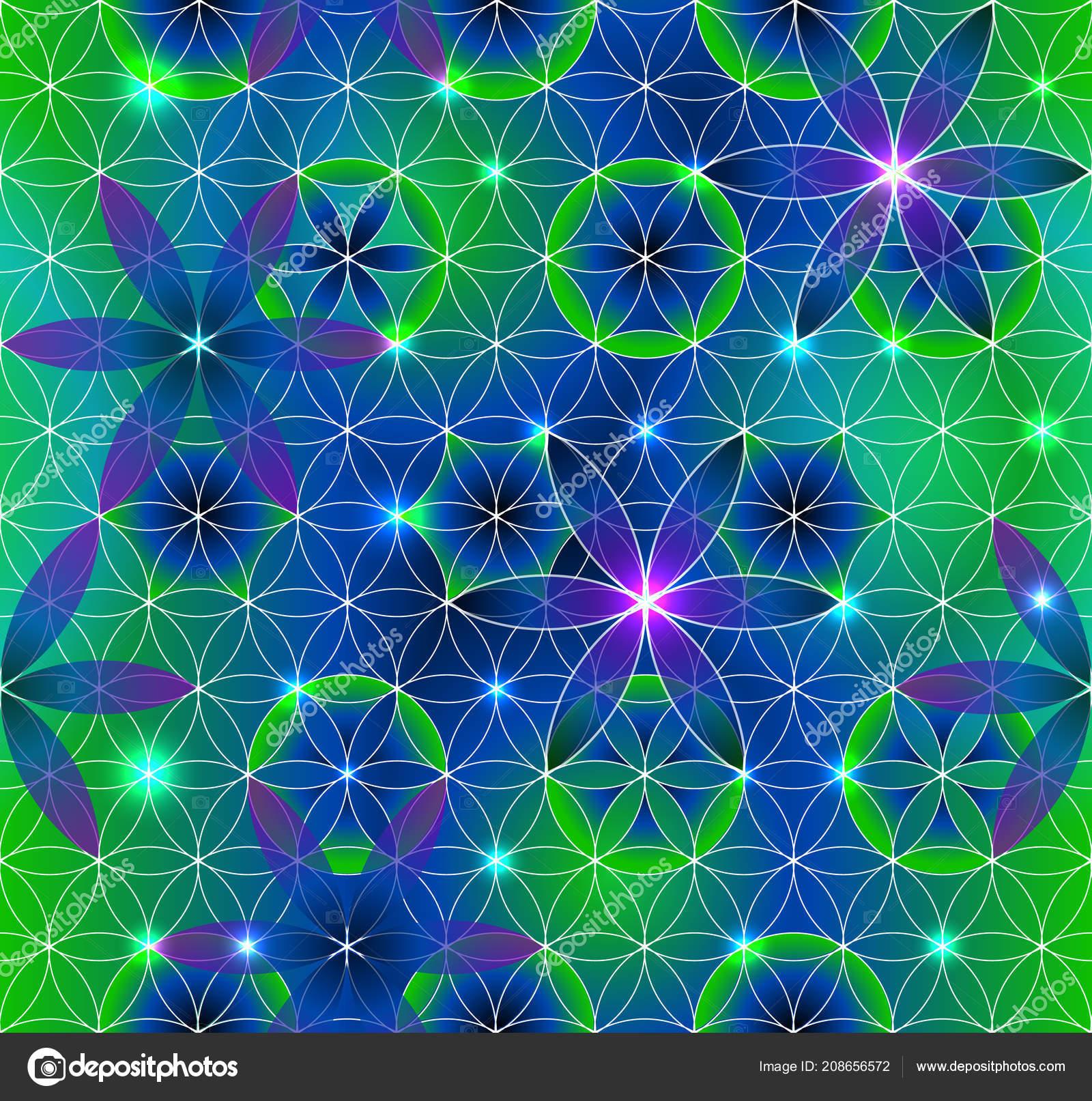 Flower Life Sacred Geometry Seamless Pattern Green Purple Luminous Points — Stock Vector
