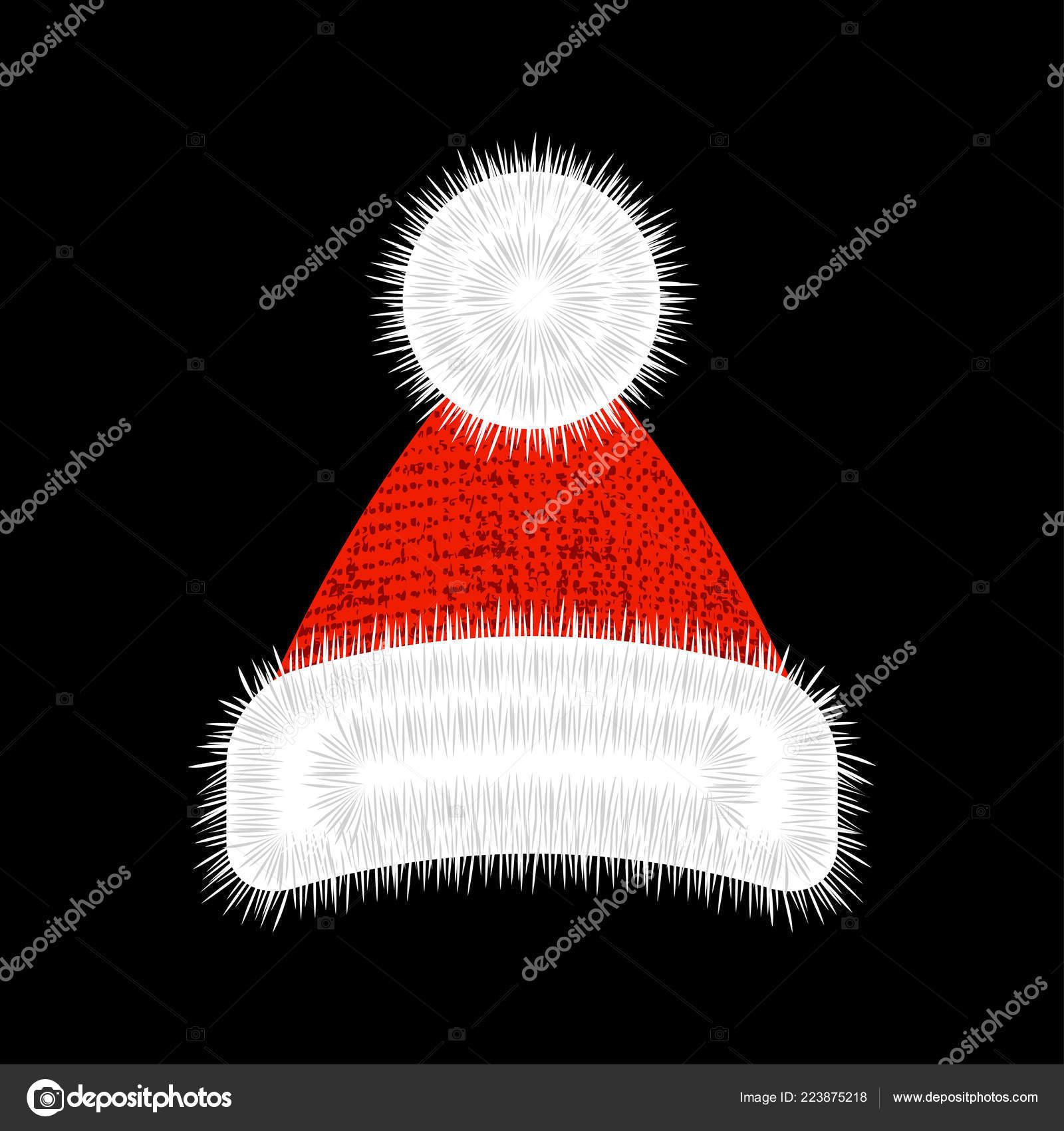 Chapéu Papai Noel Novo Anos Vermelho Com Pompom Guarnição Branca — Vetores  de Stock 3dec2d9a61a