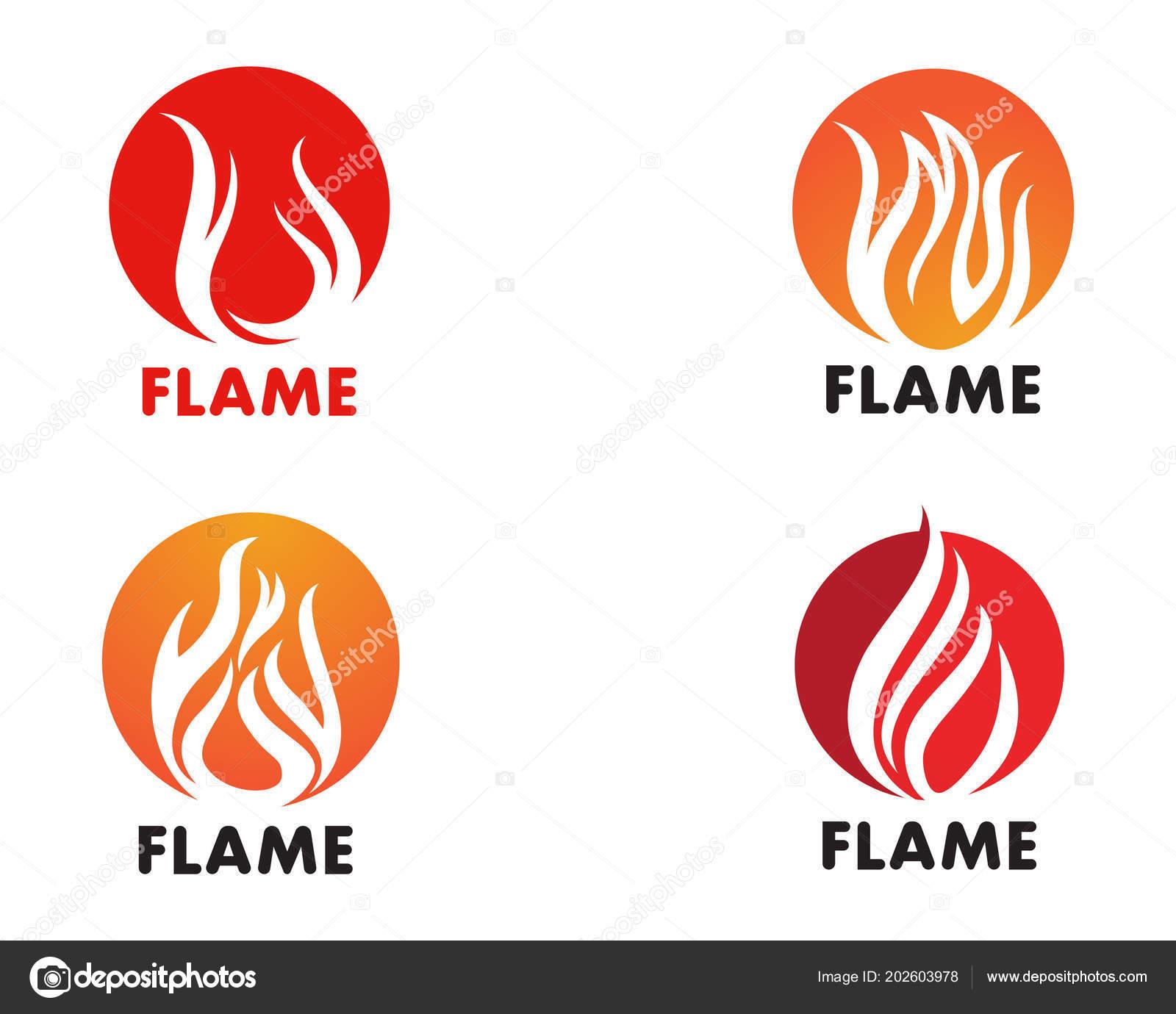 fire flame template vector icon oil gas energy logo concep stock