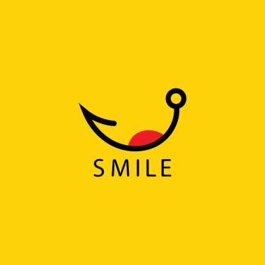 Smile logo in yellow background vector icon