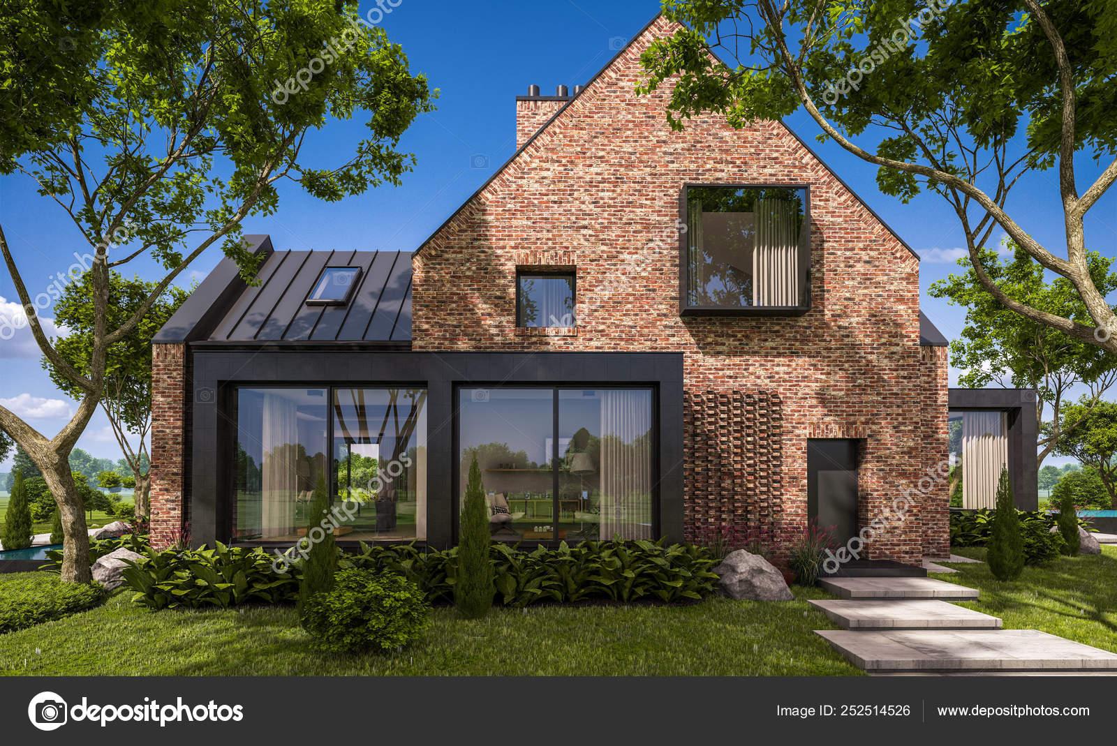 3d Rendering Des Modernen Klinker Haus Auf Den Teichen Mit Pool