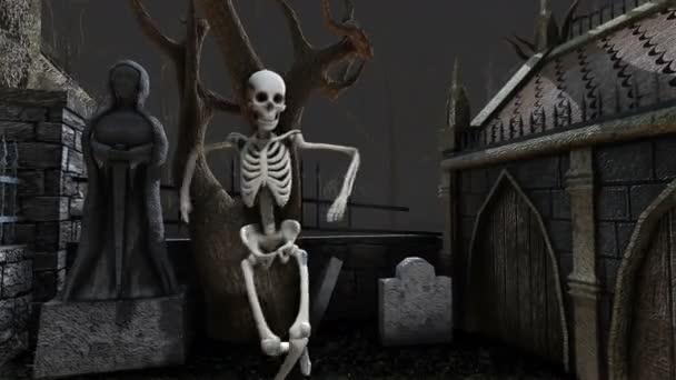 nahtlose Animation skeletttanzender Salsa auf einem Friedhof in der Nacht. Lustiger Hintergrund zu Halloween.