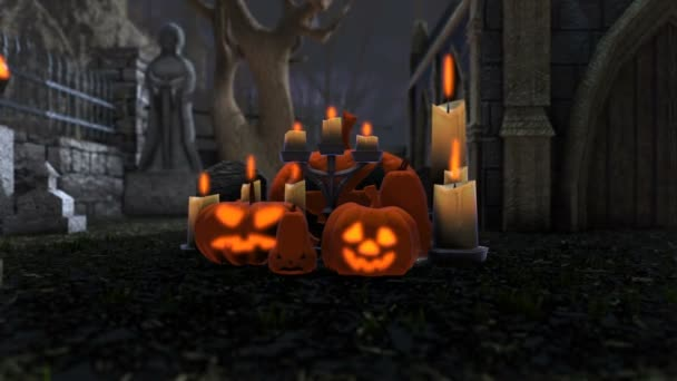 Animation Pumpkins Candles Cemetery Night Halloween Background Zoom Stock Video C Elroce 310933042