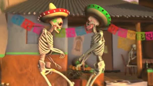 Bezešvé animace kostry cukru tančící salsu s mariachis v tipické mexické vesnici při západu slunce. Legrační Halloween 4k pozadí s dekorací pro Dia de los muertos