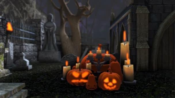 Animation von Kürbissen und Kerzen auf einem Friedhof bei Nacht. Halloween-Hintergrund. Kamerarolle