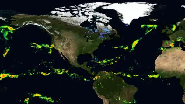 Az észak-amerikai csapadék időrendi térképe. Elemei ezt a képet által nyújtott Nasa