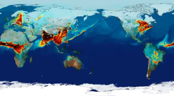 Time lapse animation simulated surface carbon monoxide concentration to study greenhouse effect. Equirectangular projection . Elements of this image furnished by NASA