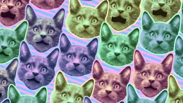 nahtlose junge Animation von Katzen im Cartoon-Stil mit Duotono-Farben. Stop-Motion Minimal Animal Art mit Pastellfarben im Halbton-Stil Hintergrund.