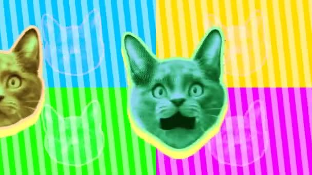 nahtlose junge Animation von Katzen im Cartoon-Stil mit Duotono-Farben. Stop-Motion Minimal Animal Art mit fluoreszierenden Farben Halbton-Stil Hintergrund.