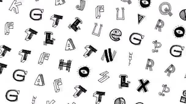 Bezproblémová zábavná animace čmáranic a ručně psané abecedy izolované na bílém pozadí. Zastavit pohyb zine kultura video smyčka.