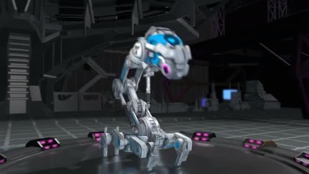 nahtlose Animation eines Roboters, der in einem Raumschiff tanzt. futuristischer Hintergrund für künstliche Intelligenz.